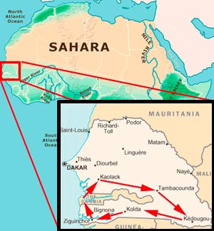 Map of The Gambia and Senegal expedition