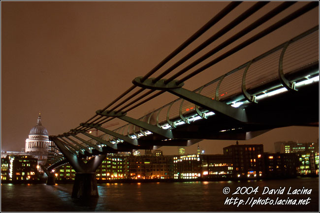 The Millenium Bridge - London In The Night, England