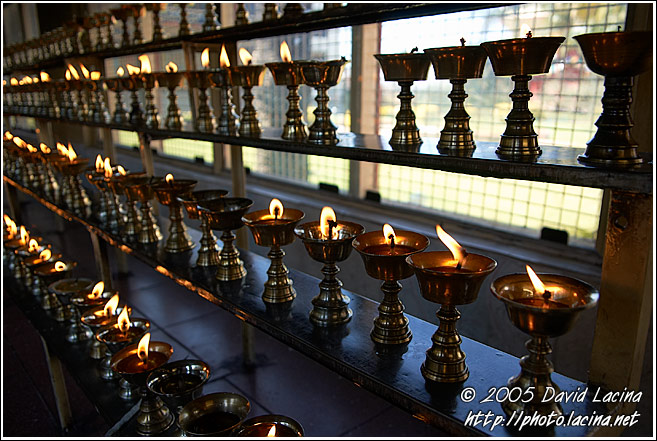 Oil Lamps - Golden Temple, Namdroling Monastery, India