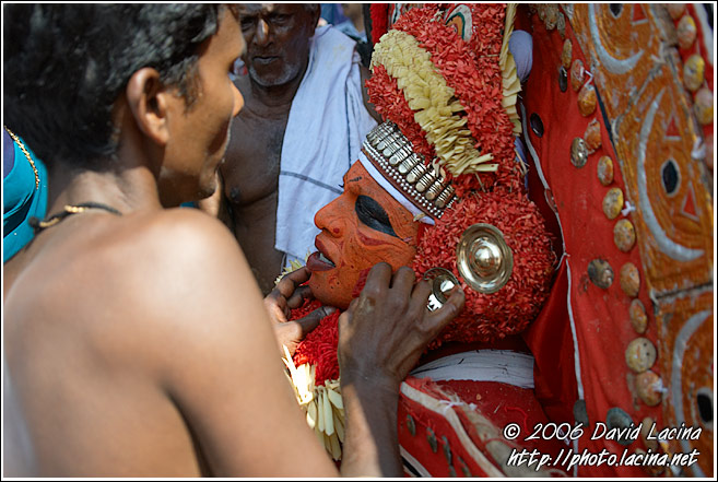 Priest Takes Care Of Kolam - Theyyam Ritual Dance, India