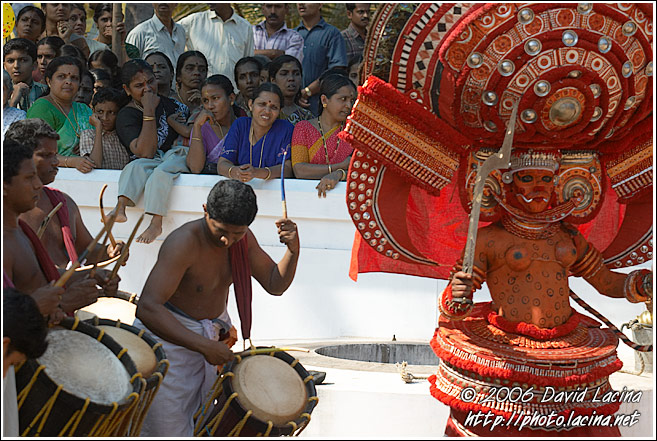 Theyyam Dancer And Drummers - Theyyam Ritual Dance, India