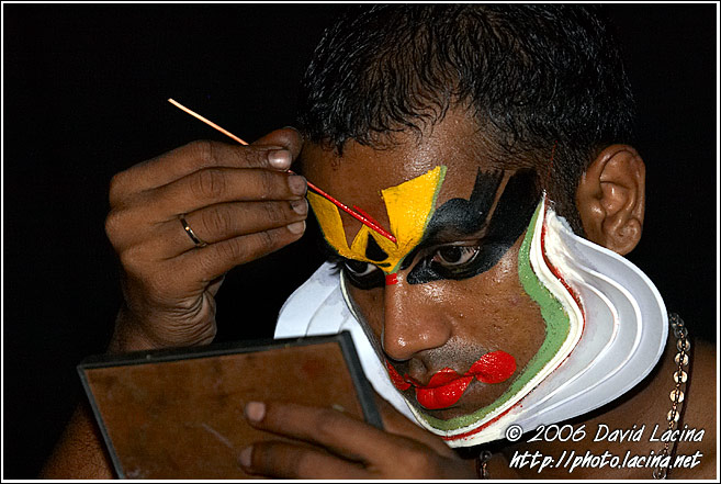 Preparing Kathakali Make-up - Kathakali, India