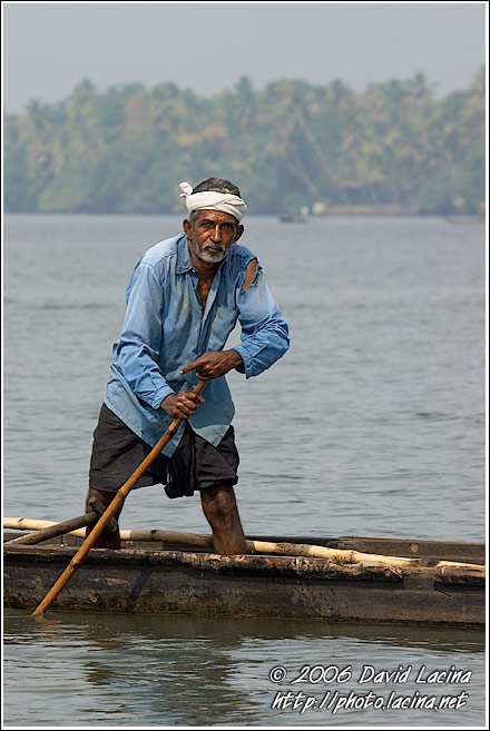 Man On A Boat - Backwaters, India