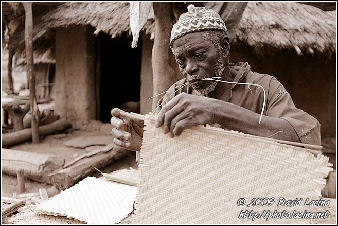 An Eldery Man Preparing Mats In Ethiouwar - Bedick Tribe, Senegal