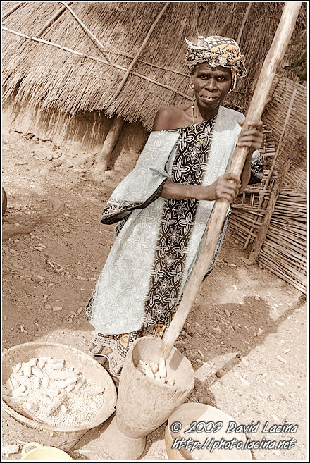 Bedick Woman Processing Crops - Bedick Tribe, Senegal