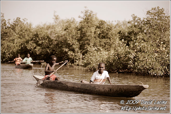 Boys On Pirogue - Casamance, Senegal