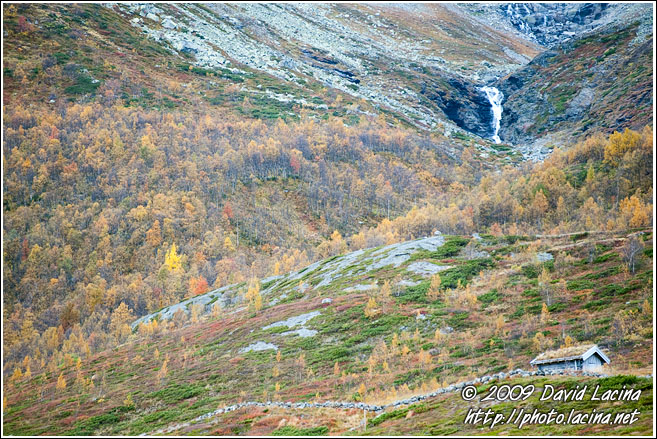 Hut By A Waterfall - Autumn In Hemsedal, Norway