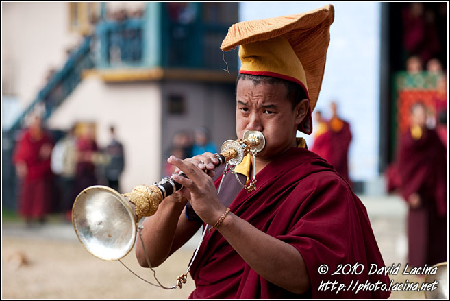 Monk Playing Trumpet - Cham Dance, India