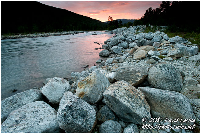 Sunset By Glacial River - Land Of Fjords, Norway