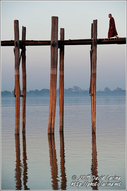 Monk On U Bein Bridge - Amarapura, Myanmar (Burma)