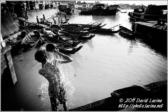 Man In Harbour - Black And White, Myanmar (Burma)