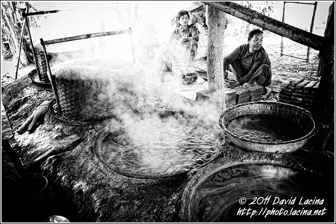 Making Caramel - Black And White, Myanmar (Burma)