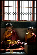 Monks Under Window, Golden Temple, Namdroling Monastery, India
