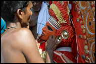 Priest Takes Care Of Kolam, Theyyam Ritual Dance, India