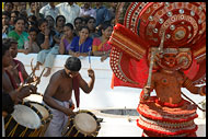Theyyam Dancer And Drummers, Theyyam Ritual Dance, India