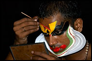 Preparing Kathakali Make-up, Kathakali, India
