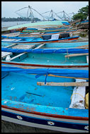 Colorful Boats By Chinese Nets, Cochin - Chinese Nets (Cheena vala), India