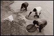 Searching For Diamonds Using Seruca, Diamond Mines, Sierra Leone