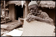 An Eldery Man Preparing Mats In Ethiouwar, Bedick Tribe, Senegal