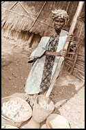 Bedick Woman Processing Crops, Bedick Tribe, Senegal