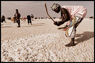 Breaking Down Salt Layer, Salt Harvesting, Senegal