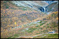 Hut By A Waterfall, Autumn In Hemsedal, Norway