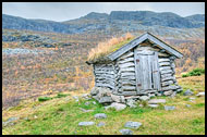 Small Hut In Nord-Hydalen, Autumn In Hemsedal, Norway