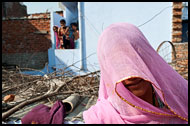 Woman Covering With Traditional Scarf, Jaipur slum dwellers, India