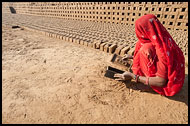Woman In Brick Factory, Shekhawati, India