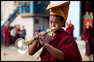 Monk Playing Trumpet, Cham Dance, India