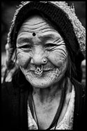 Bhutia Woman, Black And White Snaps, India