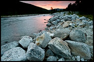 Sunset By Glacial River, Land Of Fjords, Norway
