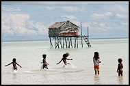 Playing Kids, Sea gypsies - Bajau Laut, Malaysia