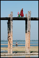 Monk And Child On U Bein Bridge, Amarapura, Myanmar (Burma)
