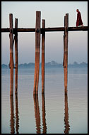 Monk On U Bein Bridge, Amarapura, Myanmar (Burma)