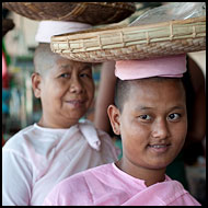 Nun Shopping At Local Market, Delta Region, Myanmar (Burma)