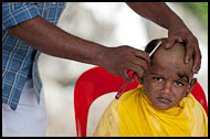 Young Boy Getting  Haircut, Thaipusam, Malaysia