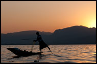 Fisherman And Sunset, Inle Lake, Myanmar (Burma)