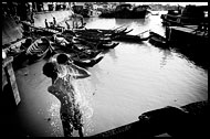 Man In Harbour, Black And White, Myanmar (Burma)
