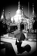 Shwedagon Pagoda, Black And White, Myanmar (Burma)