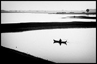 Paddling, Black And White, Myanmar (Burma)