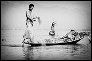 Fishing On Inle Lake, Black And White, Myanmar (Burma)