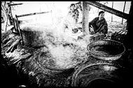 Making Caramel, Black And White, Myanmar (Burma)