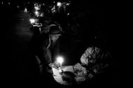 Night Market, Black And White, Myanmar (Burma)
