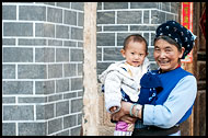 Bai Elderly Woman With Baby, Dali And Erhai Lake, China