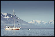 Mooring Sailboat In Adventfjorden, Svalbard, Norway
